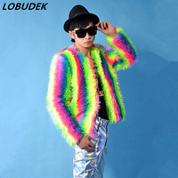 Male costume rainbow Plush coat tide slim jacket Bar Singer Hip Hop Rock performance clothing Prom Party show Dance outerwears