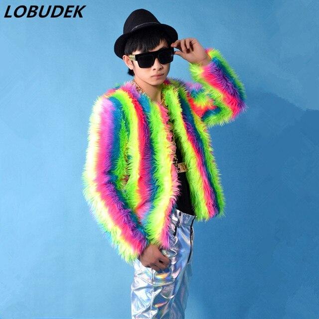 Male costume rainbow Plush coat tide slim jacket Bar Singer Hip Hop Rock performance clothing Prom Party show Dance outerwears