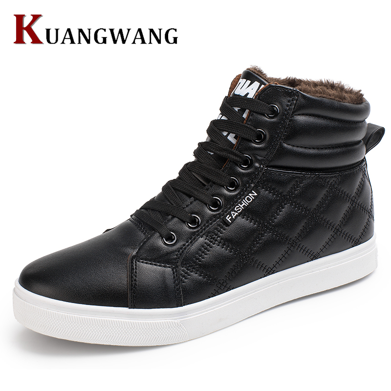 2017 New Hot Men Shoes Fashion Warm Fur Winter Men Leather Boots Waterproof Snow Boots Footwear High Top Canvas Casual Shoes Men new fashion men basic black winter warm shoes high top nuduck genuine leather luxury brand ankle snow boots flats size 38 44