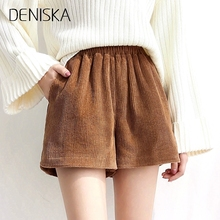 DENISKA Autumn Winter Corduroy Shorts Women 2018 New Casual Loose Elastic High Waist Female Shorts Thick Solid Short Wom