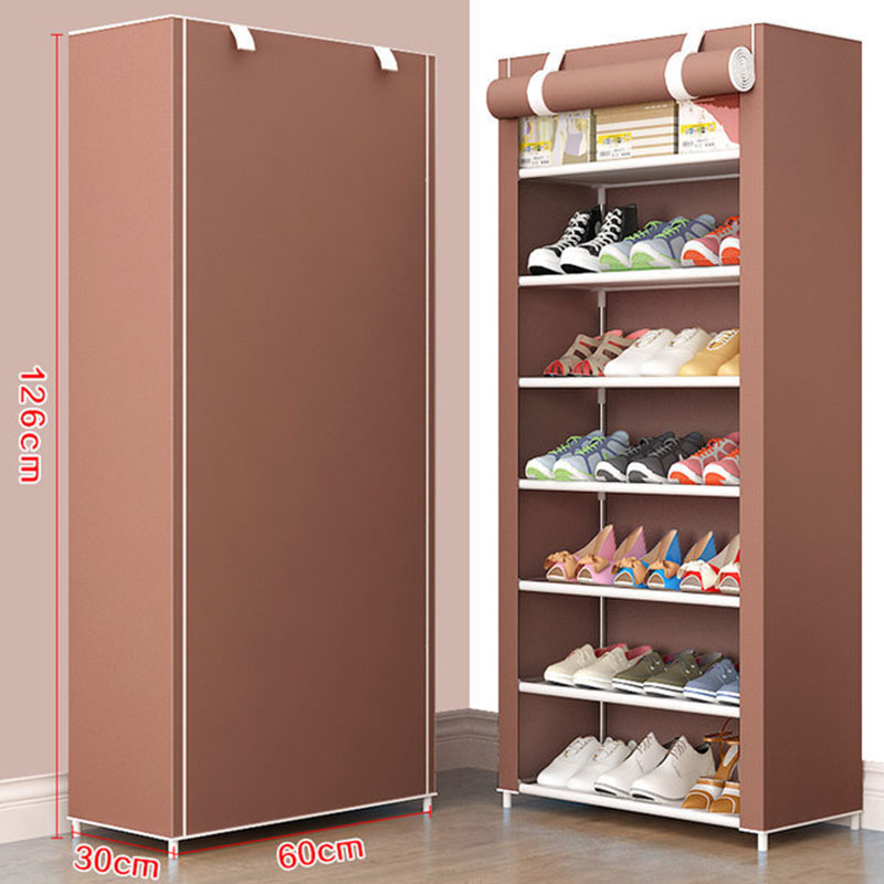 8 Layer Simple DIY Assembly Shoe Cabinet Folding Cloth Shoes Storage Rack Shelves Dustproof Shoe Cabinet Home Furniture