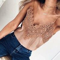 Haut Femme Women T Shirt Sexy Knitted Top Shirt Sleeveless Bustier Crop Top Tumblr 2017 Summer
