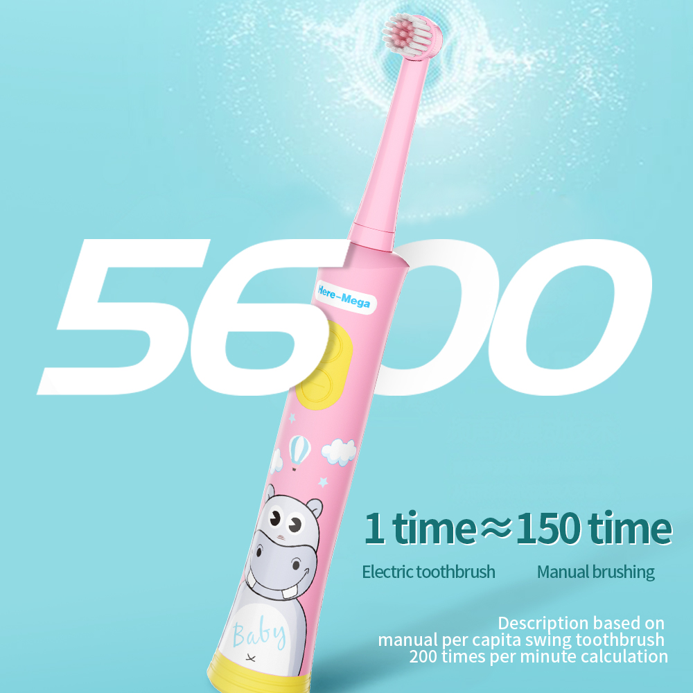 HERE MEGA Kids Rotating Baby Electric Toothbrush Cleaning Whitening Timer Children Musical Tooth Brush USB Rechargeable in Electric Toothbrushes from Home Appliances