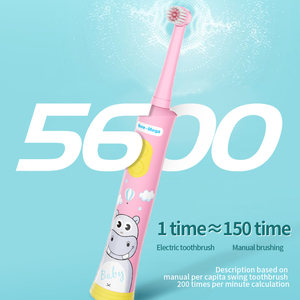 Image 4 - HERE MEGA Kinder Rotierenden Baby Elektrische Zahnbürste Reinigung Bleaching Timer Kinder Musical Zahn Pinsel USB Aufladbare