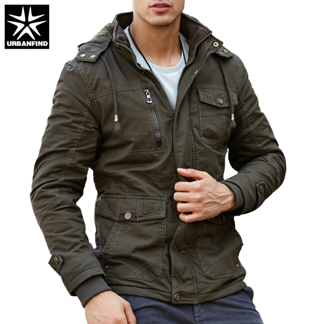 URBANFIND Cashmere Lining Men Autumn Winter Jacket Size L-4XL Military Style  Men Thick Cotton Coats Black   Army Green   Khaki 27efdaaa46ac