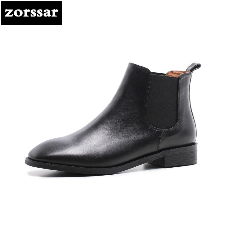 {Zorssar} Real cow leather flat ankle boots women Chelsea boots 2018 New winter warm shoes riding boots women flats botas mujer