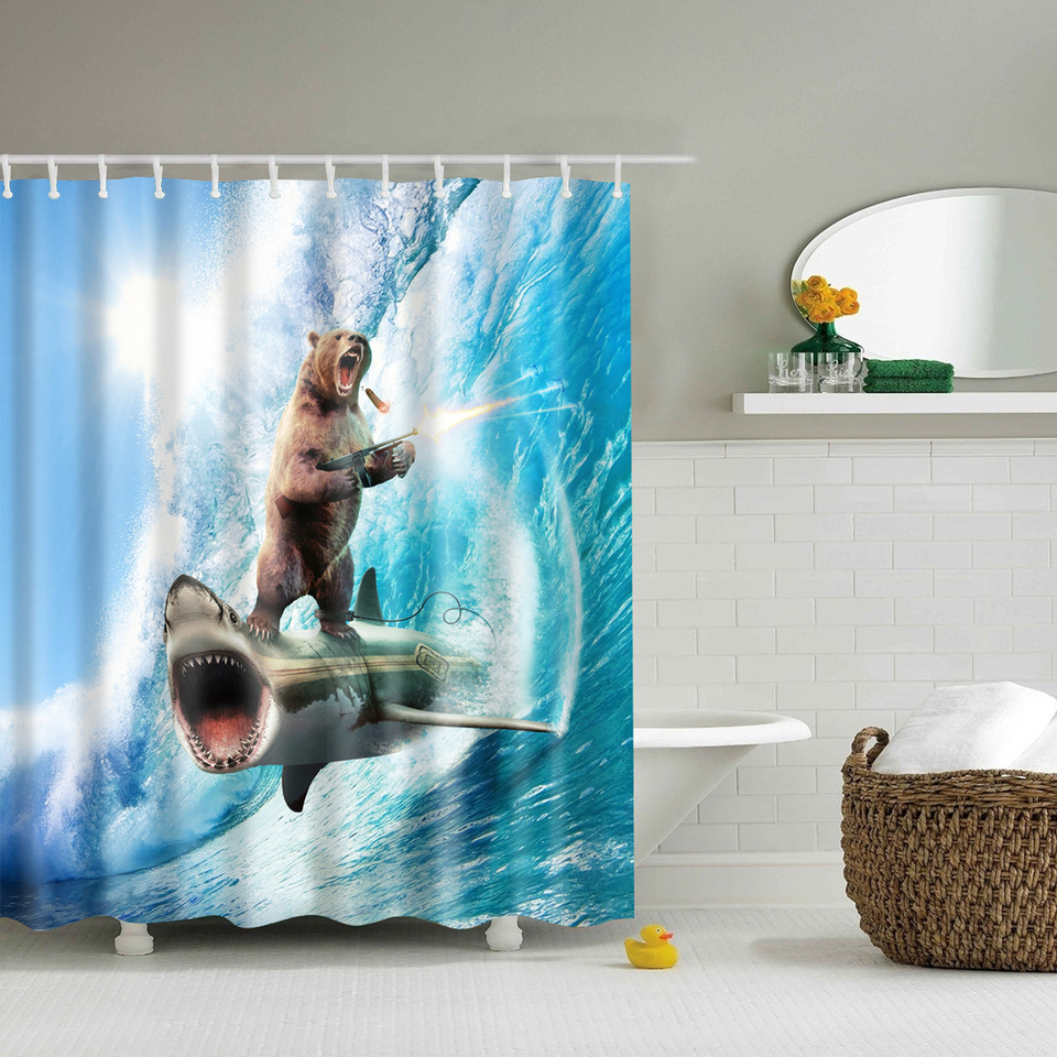 Papa&Mima bear surf printed Waterproof Shower Curtains Polyester Bathroom Curtains With Hooks 180x180cm Decorative Bathtub