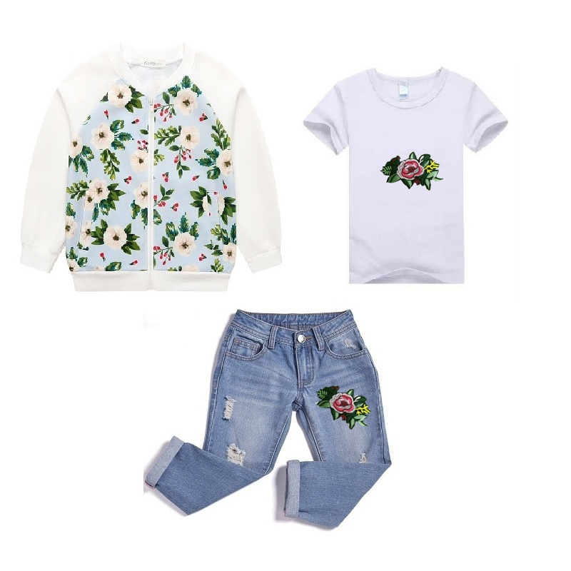 Sardiff Kids White Flower Clothing Set 3 Pieces Jacket+White T-shirt+Blue Jeans Pants Fashion Style Clothes Toddle Girls Suits white