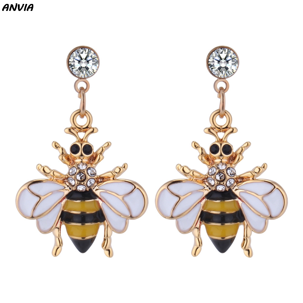 Anvia Hot Selling Chic Romantic Animal Yellow Bee Earrings Circle Pearl Acrylic Earings Jewelry For Party Gift Valentine in Drop Earrings from Jewelry Accessories