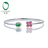 Caimao Jewelry 0.68ctw Oval Natural Emerald & 0.18ct Ruby 0.11ct Pave Diamond 18K White Gold Gemstone Bracelet