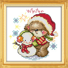 The four seasons little bear-winter, counted printed on fabric 14CT 11CT Cross Stitch kits,embroidery needlework Sets Home Decor