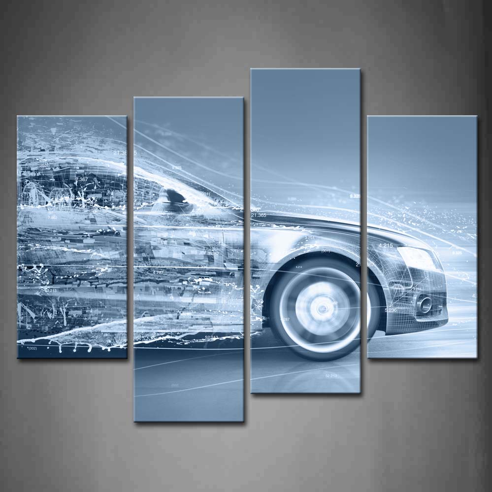 Framed Wall Art Picture Blue Car Water Canvas Print Artwork Car Modern Posters With Wooden Frames For Living Room DecorFramed Wall Art Picture Blue Car Water Canvas Print Artwork Car Modern Posters With Wooden Frames For Living Room Decor