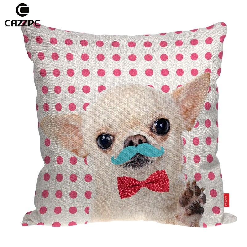Pink Dot Cute Chihuahua Dog Moustache Bow Tie Print Linen Car Sofa Chair Decorative Throw Pillowcase Cushion Cover Home Decor