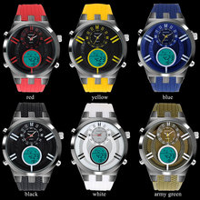 men sports watches dual display watches men digital LED watches BOAMIGO rubber band quartz clock 30M waterproof wristwatches