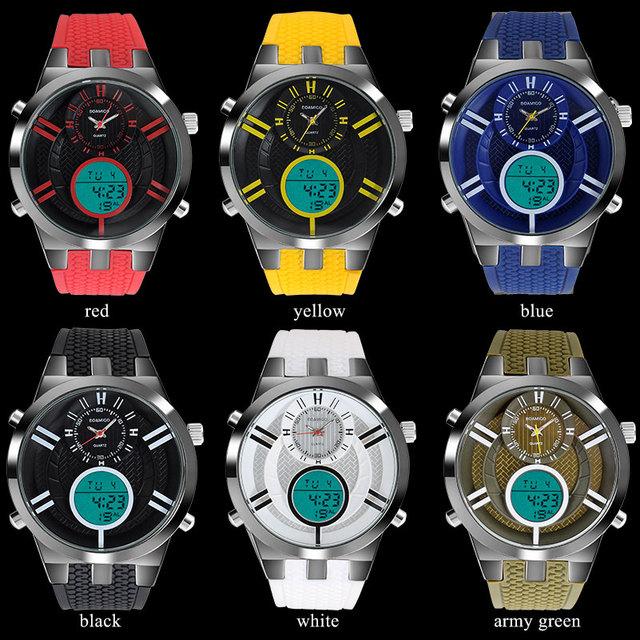 men sports watches dual display watches men digital LED watches BOAMIGO rubber band quartz clock 30M waterproof wristwatches