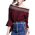 New 2017 women casual Plaid Shirt loose blouses Flare sleeve shirts Slash neck blusa women tops blouse