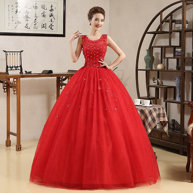 Costomize Real Photo New Spring Wedding Dresses Red Bride