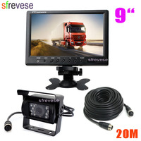 9 TFT LCD Rear View Monitor + Waterproof 4Pin 18 LED Reversing Parking Backup Camera Kit Free 20M cable for Bus Truck Motorhome