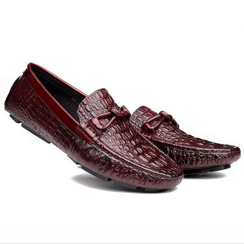 ФОТО Genuine Leather Flat Shoes Crocodile Style Mens Loafers Round Toe Slip  On Men Flats Wedding Oxford Shoes Chaussure Homme