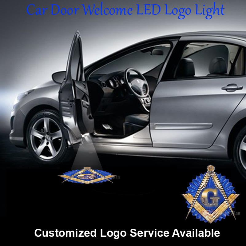 2x Free and Accepted Masons Logo Wired Car Door Welcome Step Courtesy Laser Projection Ghost Shadow Puddle LED Light Universal