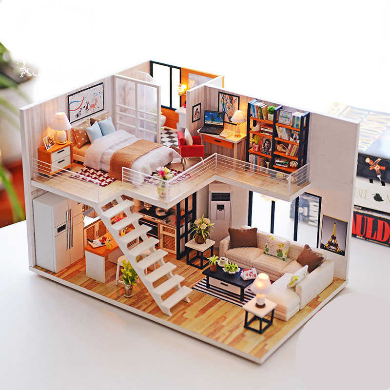 Assemblare FAI DA TE Casa In Legno Giocattolo di Legno Miniatura Case di Bambola In Miniatura Casa Delle Bambole giocattoli Con Mobili LED Illumina il Regalo Di Compleanno