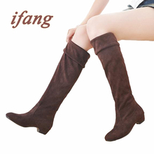 ifang Women Winter Thigh High Boots Snow Low Heel Women Shoes Woman Bota Feminina Botas Mujer Knee-high Women's Boots