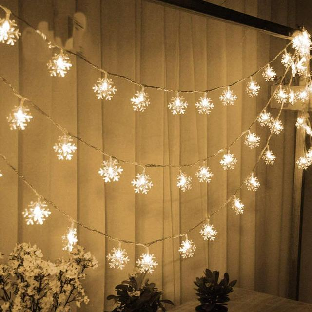 LED String Lights Christmas Snowflake Lights Battery Operated 10 20 40 80 LED Lights for Bedroom Corridor Patio Garden Yard