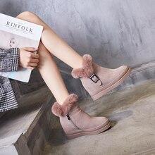 Botas de neve das mulheres de couro genuíno botas de tornozelo feminino 2019 inverno moda fivela mulher botas de neve sapatos de inverno