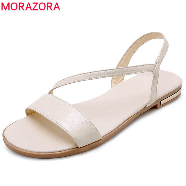 MORAZORA 2019 drop shipping büyük boy 46 hakiki deri ayakkabı kadın sandalet yaz ayakkabı üzerinde kayma kadın düz plaj ayakkabısı kadın