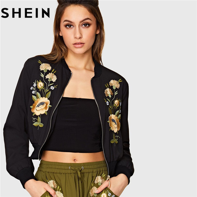 e3a1bd133 US $35.0 |SHEIN Streetwear Black Floral Embroidered Long Sleeve Women  Bomber Jacket Autumn New Zipper Placket Polyester Casual Jackets-in Basic  ...