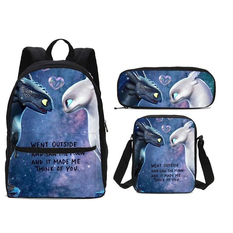 Cartoon comment former votre Dragon 3 3 pièces/ensemble femmes école toile sacs à dos enfants sac à crayons sac pour les adolescentes sac à dos Mochila
