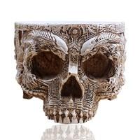 P-Chama Branco Antigo Escultura Crânio Humano Plantador Do Jardim Potes De Armazenamento Recipiente Macetas Decoração Vaso de Flores Para Decoração de Casa