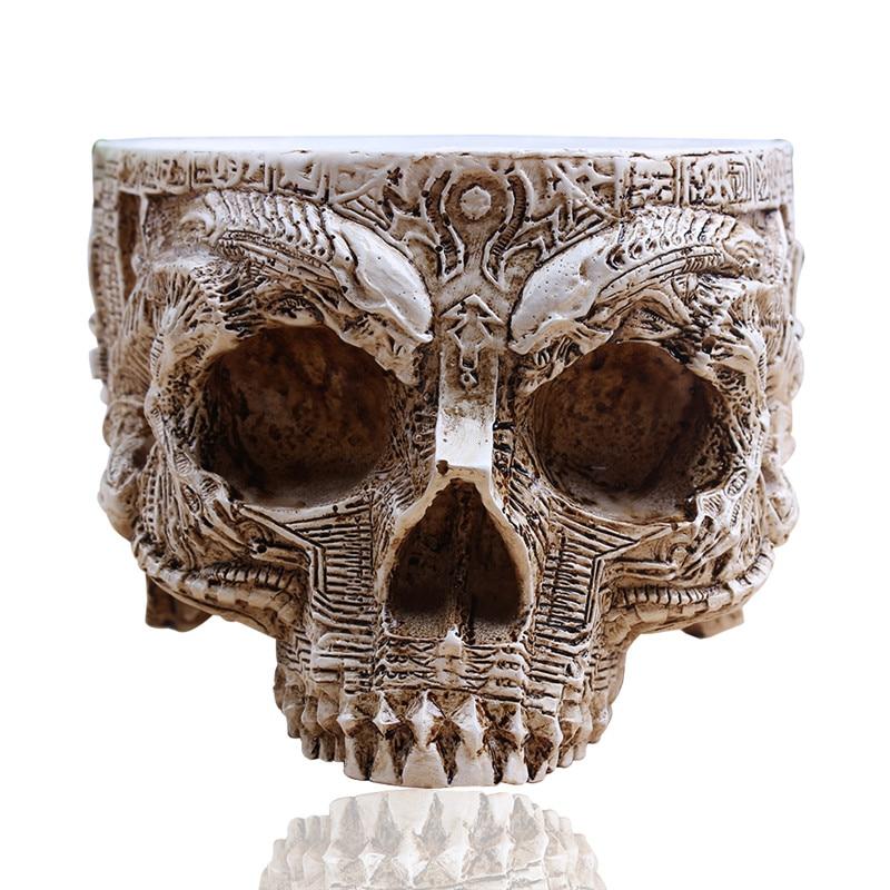 P-flame white antique sculpture skull garden decoration flower pot item storage tank container decoration home decoration resin