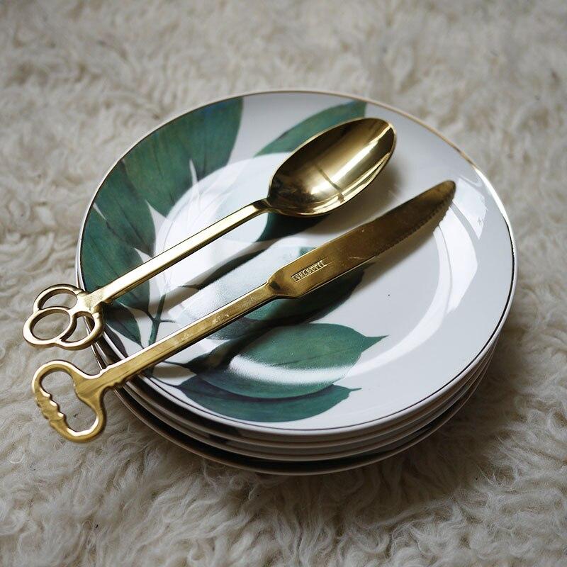 4pcs European Style Rainforest Gold Rim Spot Ceramic Plate Dish Fish Dish Steak Dish Western Dish Dessert Plate Jewelry Storage-in Dishes & Plates from Home & Garden    3
