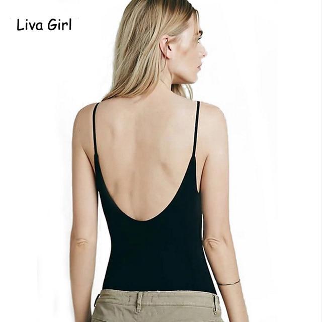 c62a35fb9e2ae Summer Sexy Deep U back Backless Sleeveless Summer Spaghetti Strap Tank Top  Sexy Shirt kawaii camisetas mujer