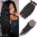 6A Brazilian Virgin Hair With Closure 3 Bundles Brazilian Deep Wave With Closure Unprocessed Brazilian Curly Human Hair Weaves