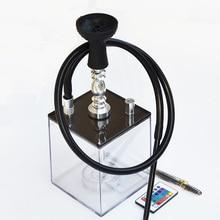New Design Acrylic Shisha Hookah Set With Led Light Hose Charcoal Tongs Bowl Narguile Cachimba