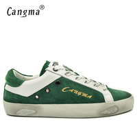 CANGMA British Style Men Luxury Brand Shoes Green Cow Suede Adult Flat Footwear Man Leather Genuine