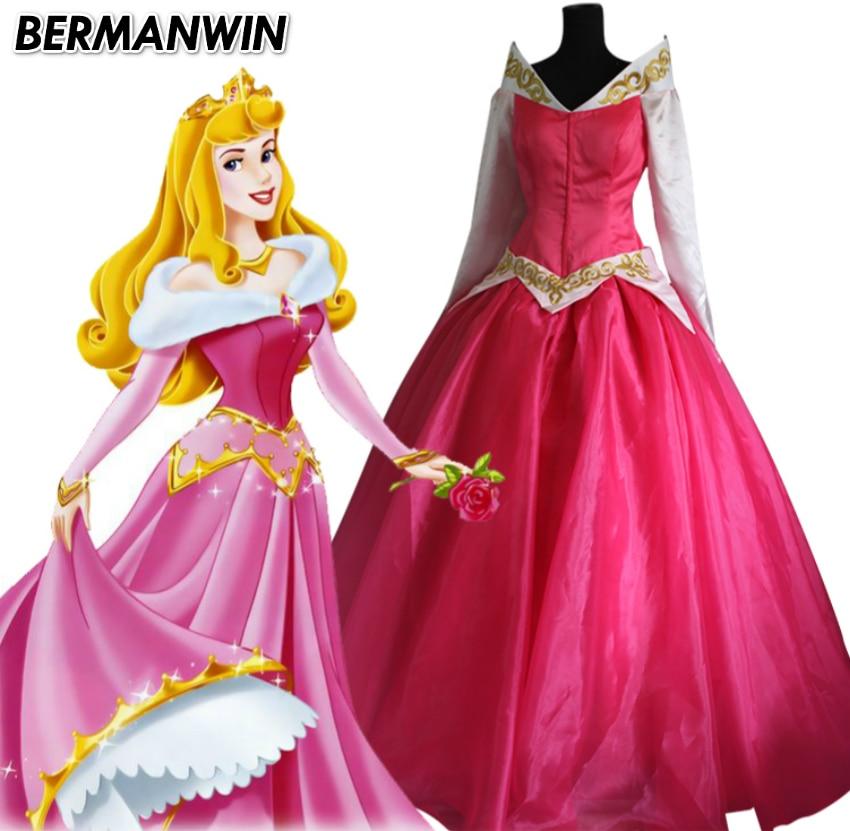BERMANWIN High Quality Movie Sleeping Beauty Aurora Luxury Fancy Adult women Dress Princess Aurora Dress Cosplay Costume