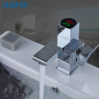 ULGKSD Bathroom Faucet Temperature Display Single Handle Basin Vessel Sink Faucets Cold and Hot Mixer Tap