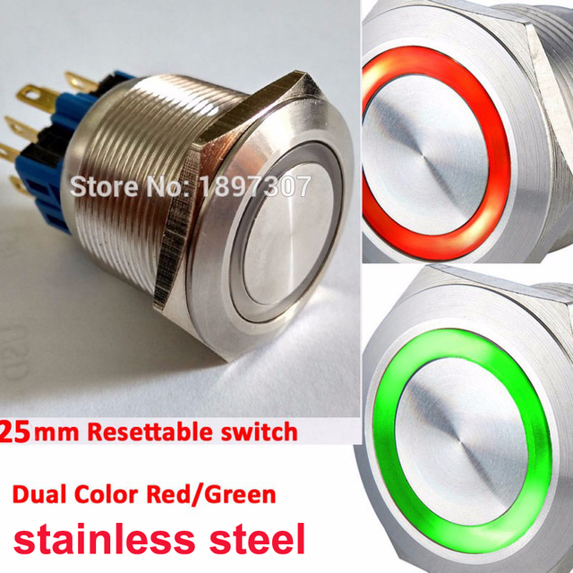 16mm 19mm 22mm 25mm dual color bi color red green ring led 1no1nc