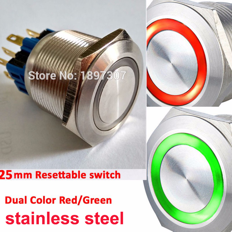 16mm <font><b>19mm</b></font> 22mm 25mm Dual Color bi-color 6V 12V 24V Ring <font><b>LED</b></font> 1NO1NC Reset Momentary Anti-Vandal Electric Car Push Button <font><b>Switch</b></font> image