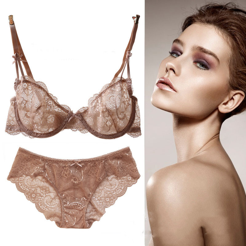 60fb2a6dec5b Hot Sale Fashion Sexy Bra Set lingerie victoria Slim women's lace sexy  underwear pack cheeky panty bra Clothing set