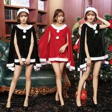 Sexy delle donne di Halloween Costumi Di Natale Babbo natale Vestito  Mantello Shorts Cappello 3 pz 4e78a3dbd84