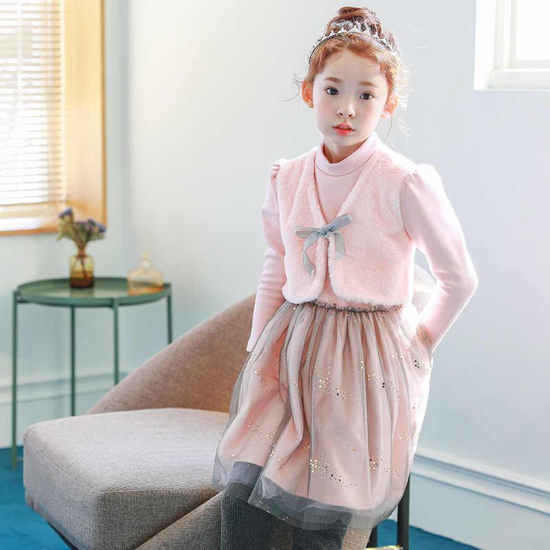 9b76ea5f2fa2fcb Меховое лоскутное рождественское платье для девочек-подростков, теплые  детские платья для девочек, зима