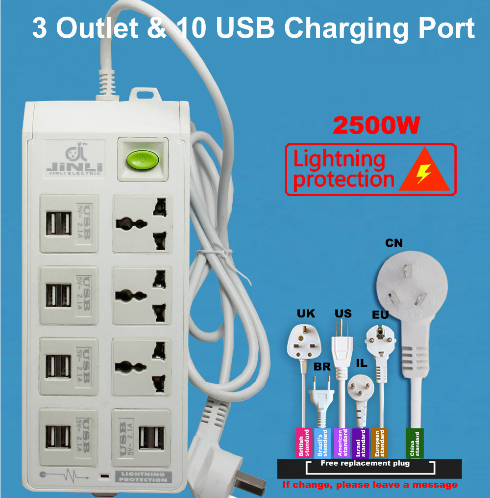 Power Strip Socket with 10 USB Standard Extension Socket Plug Multifunctional Smart Power Strip Home Electronics звонок беспроводной elektrostandard dbq10m wl mp3 16m ip44 белый 4690389037375