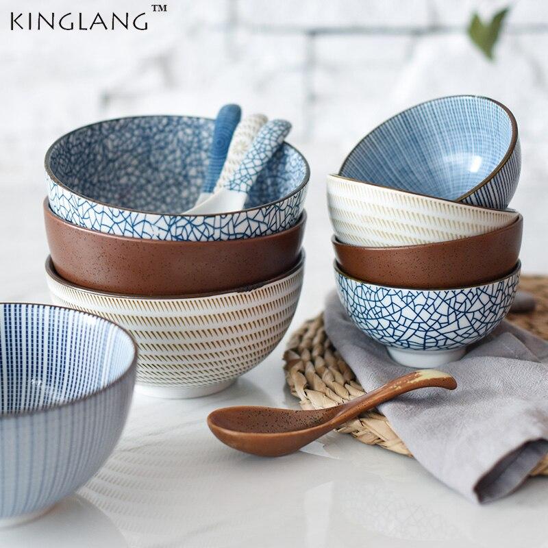 Японская классическая керамическая посуда Кухня суп лапша рисовая чаша 6 дюймов 8 дюймов Большая ramen миска ложка и чайная чашка|bowl spoon|bowl and spooncup cups | АлиЭкспресс - Салатницы