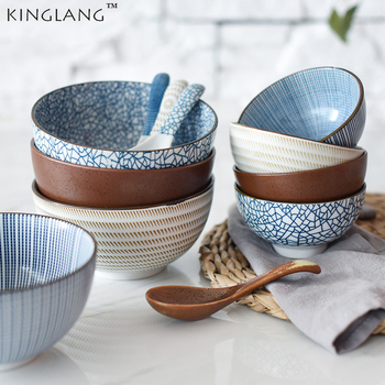 japanese classical ceramic tableware kitchen soup noodle rice bowl 4 5 inch big ramen bowl set hand painted ceramic bowl KINGLANG Japanese Classical Ceramic Bowls Tableware Kitchen Soup Noodle Rice Bowl Big Ramen Bowl  Spoon and Teacup