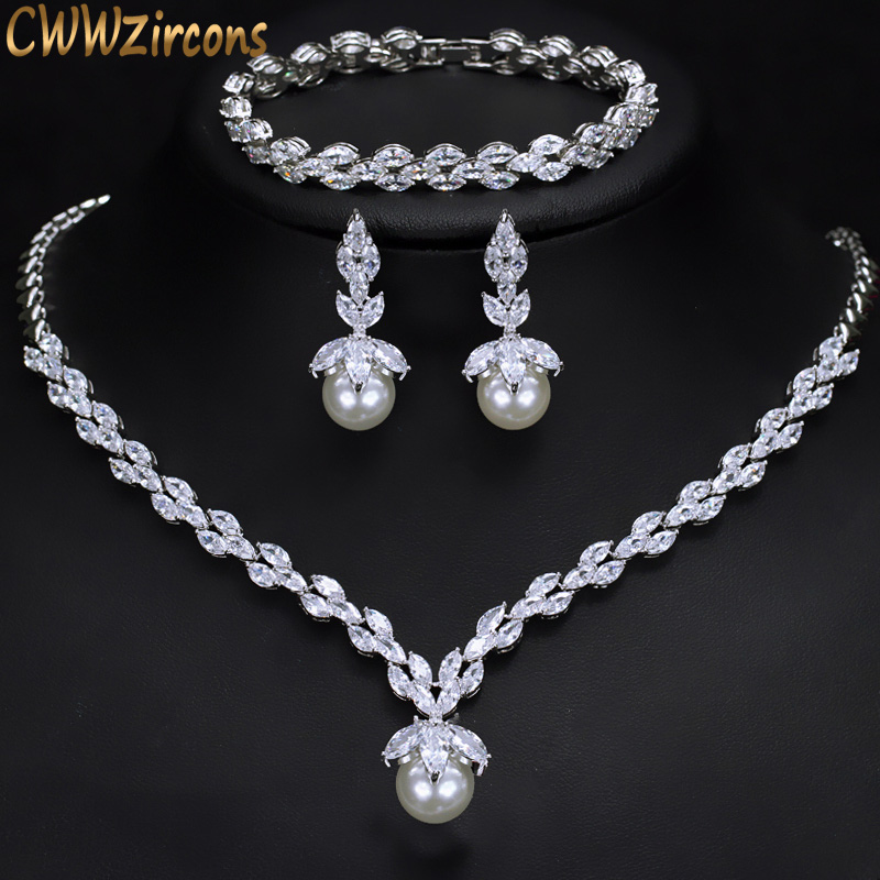 CWWZircons 3 Piece Sparkling CZ Dangle Drop Pearl Bridal Wedding Party Necklace Earrings Bracelet Jewelry Sets for Women T252 cwwzircons water drop royal blue cz necklace earrings ring and bracelet 4 piece wedding jewelry set for women bridal party t098
