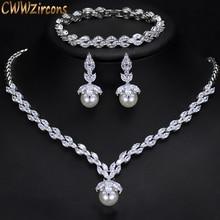 CWWZircons 3 Piece Sparkling CZ Dangle Drop Pearl Bridal Wedding Party Necklace Earrings Bracelet Jewelry Sets for Women T252